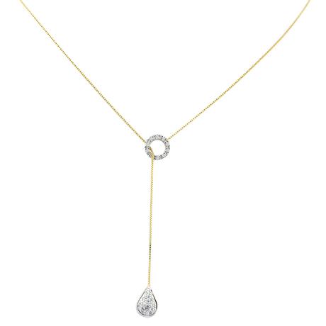 Mini colar gravatinha gota ouro amarelo e branco