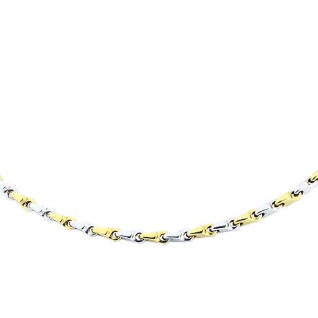 Mini colar masculino ouro amarelo ouro branco