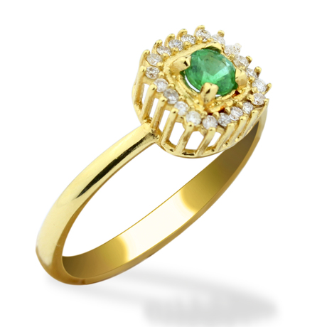 Mini anel brilhantes esmeralda quadrada