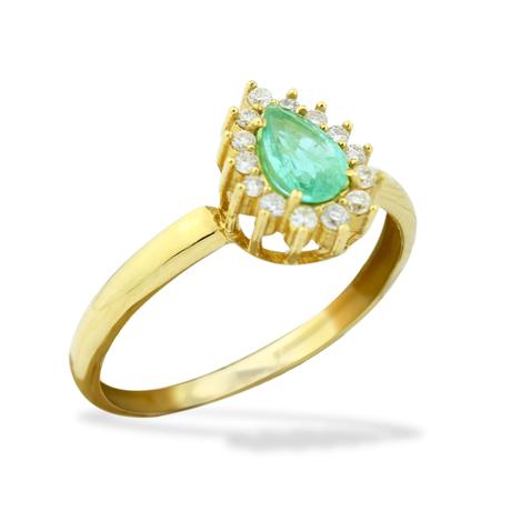 Mini anel brilhantes esmeralda gota