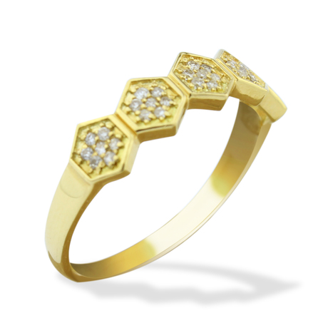 Mini anel colmeia brilhantes