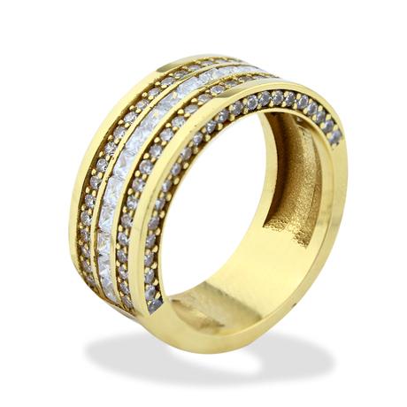 Mini anel grosso cravejado brilhantes