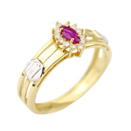 Mini anel rubi navete brilhantes