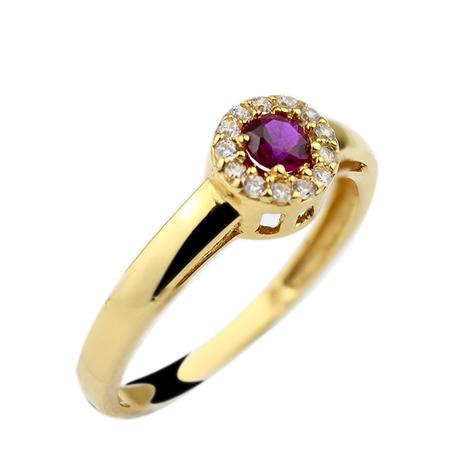 Mini anel rubi redondo brilhantes