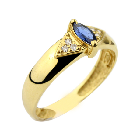 Mini anel safira navete