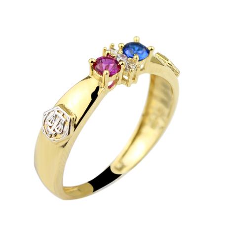 Mini anel safira rubi