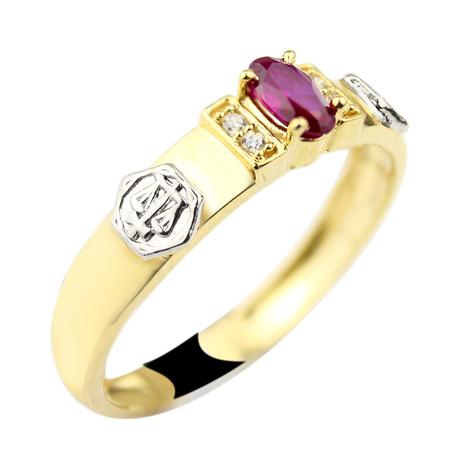 Mini anel formatura emblema rubi pedra oval