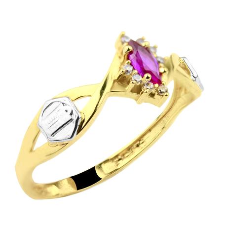 Mini anel navete rubi brilhantes