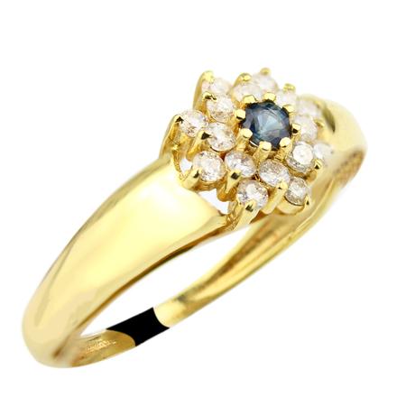 Mini anel flor safira escura