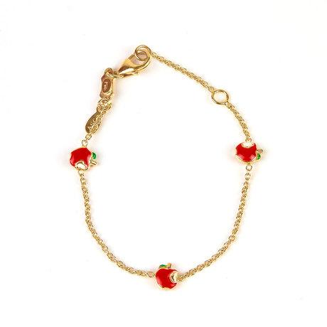 Mini tavares joalheiros pulseira infantil de ouro maca